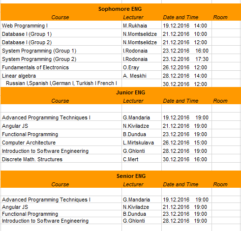 Updated Final Exam Timetable for Sophomore, Junior and